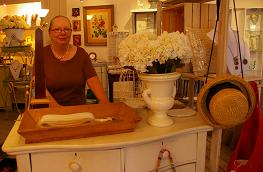Letty Johnson at the counter in the Catskill Collection.