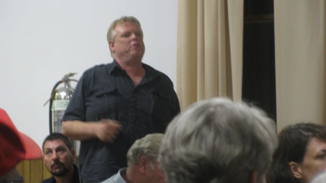 Al Higley, Jr., Mt. Temper Farm Stand, candidate for Town Board, speaking at Town Board Meeting 9-12-11: Photo by Rusty Mae Moore