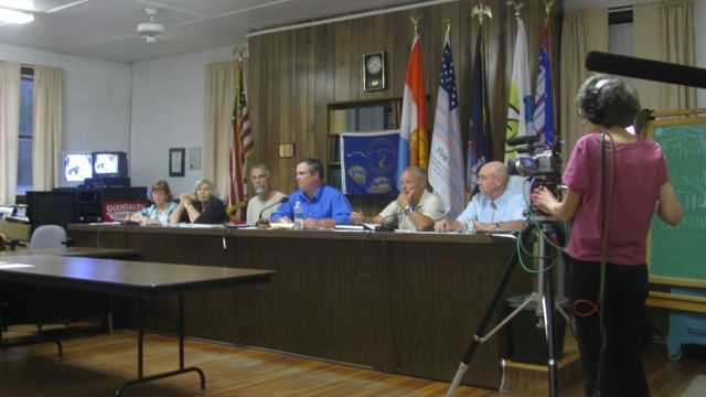 Preparing the videorecording of the September 12, 2011, Shandaken Town Board meeting. L-R: Town Clerk Frasier, Councilmembers Bartlett, Malloy, Stanley, Jordan, Bernstein.: Photo by Marty Rosen