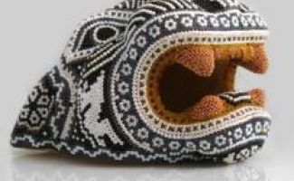 Hand beaded Jaguar head crafted by the Huichols of Sierra Madre of Mexico