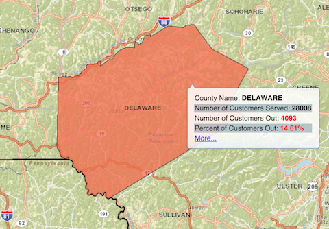 Nyseg Power Outage Map Thousands without power in Delaware County, hundreds without power