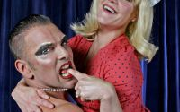 Dr. Frank-N-Furter and Janet in the Shandaken Theatrical Society Playhouse production